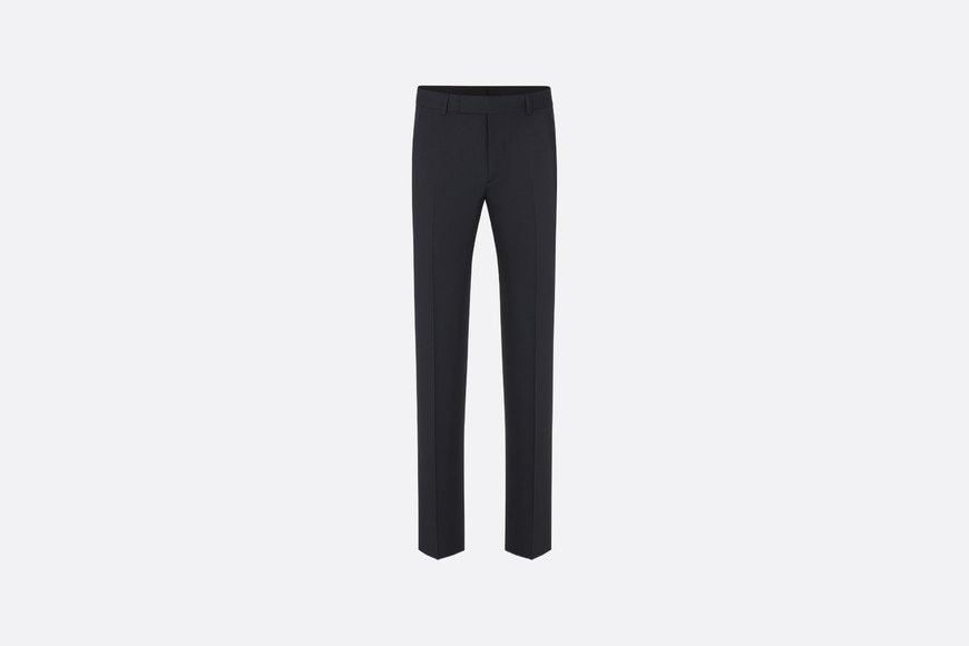 Navy Blue Straight-Leg Wool Twill Pants front view