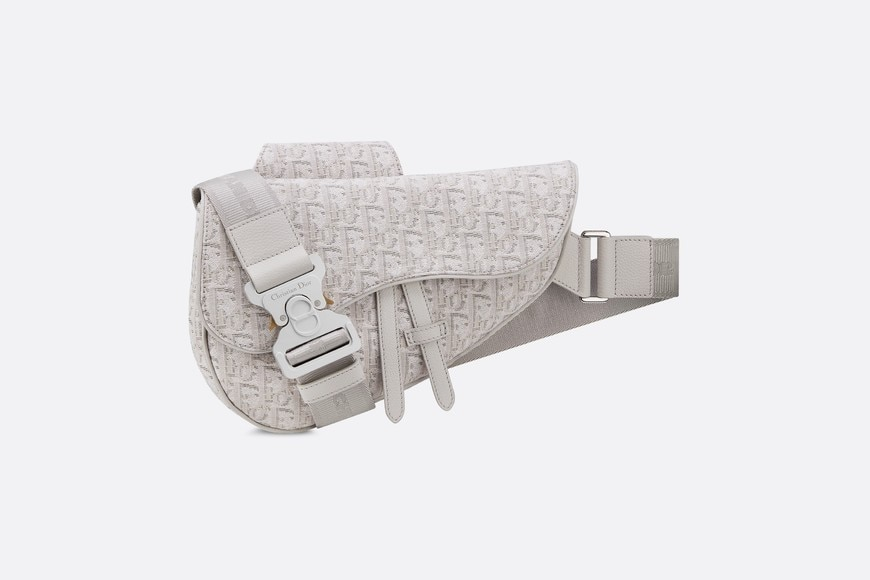 Beige Dior Oblique Jacquard Saddle Bag aria_frontView