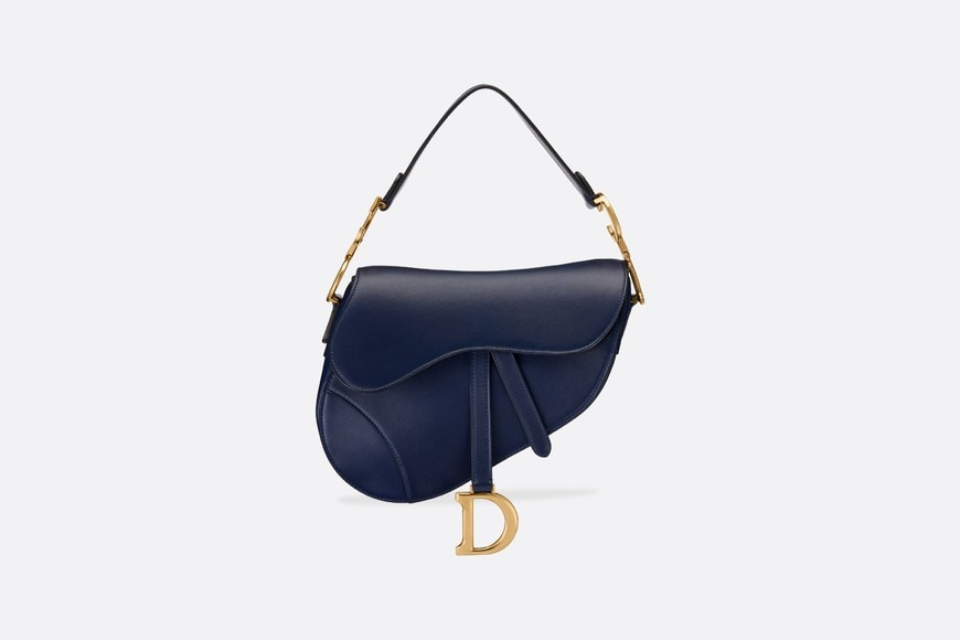 Saddle Tasche aus Kalbsleder in Blau aria_frontView