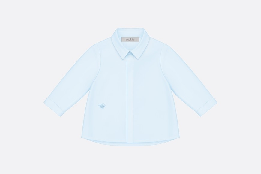Blue cotton poplin shirt aria_frontView