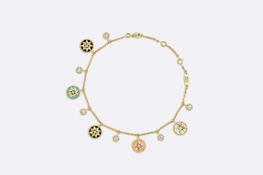Rose des Vents bracelet, 18K yellow gold, diamonds and gemstones aria_frontView