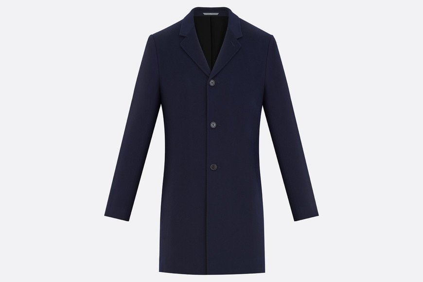 Topcoat, navy blue cashmere aria_frontView