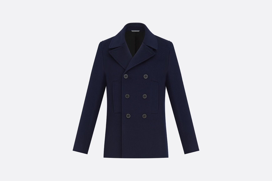 Double-breasted Peacoat, navy blue cashmere front view