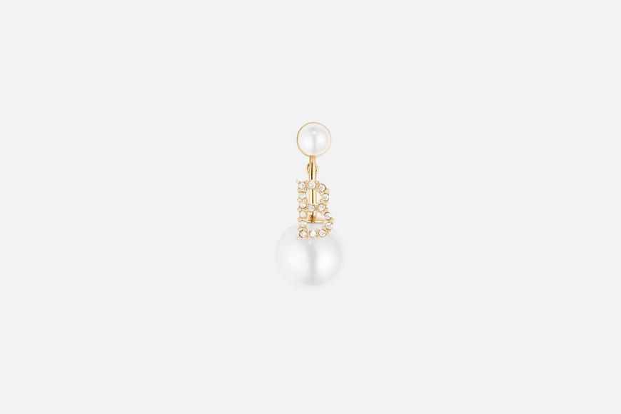 White Crystal Letter 'B' My ABCDior Tribales Gold Finish Earring front view