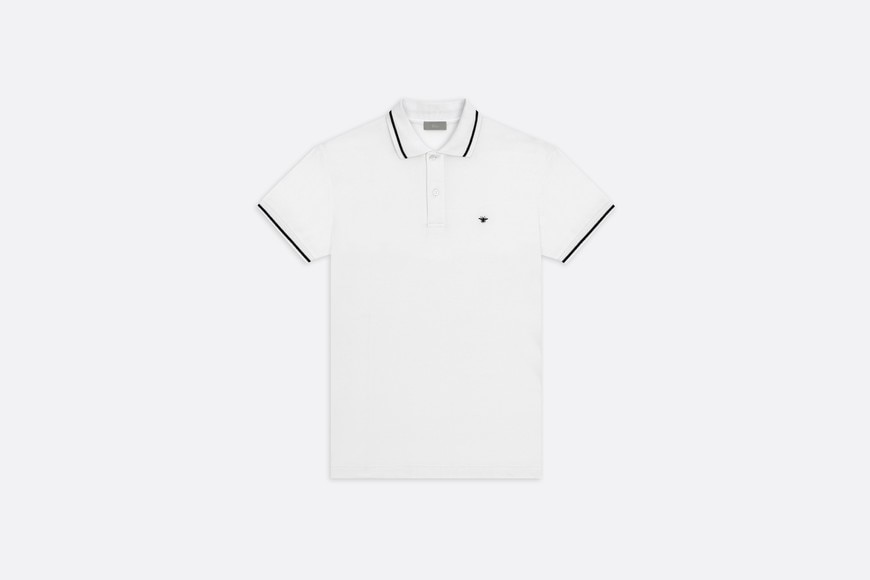 Polo shirt, black bee embroidery, white piqué front view