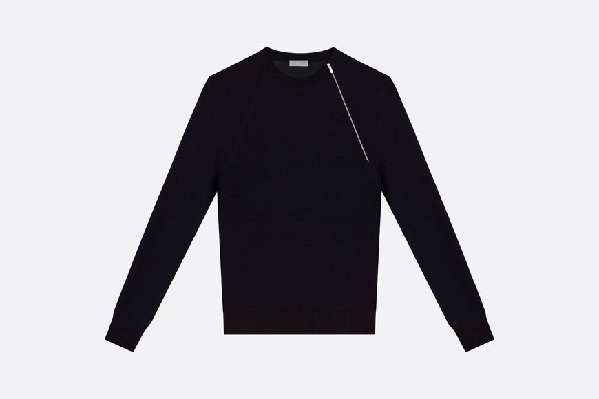 Black Virgin Wool Sweater with Asymmetric Zip front view