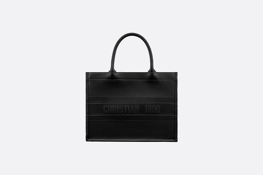 Small Black Calfskin Dior Book Tote aria_frontView