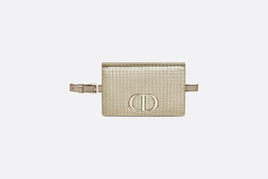 '30 Montaigne' 2-in1-Clutch aus Kalbsleder in Stardust Gold aria_frontView
