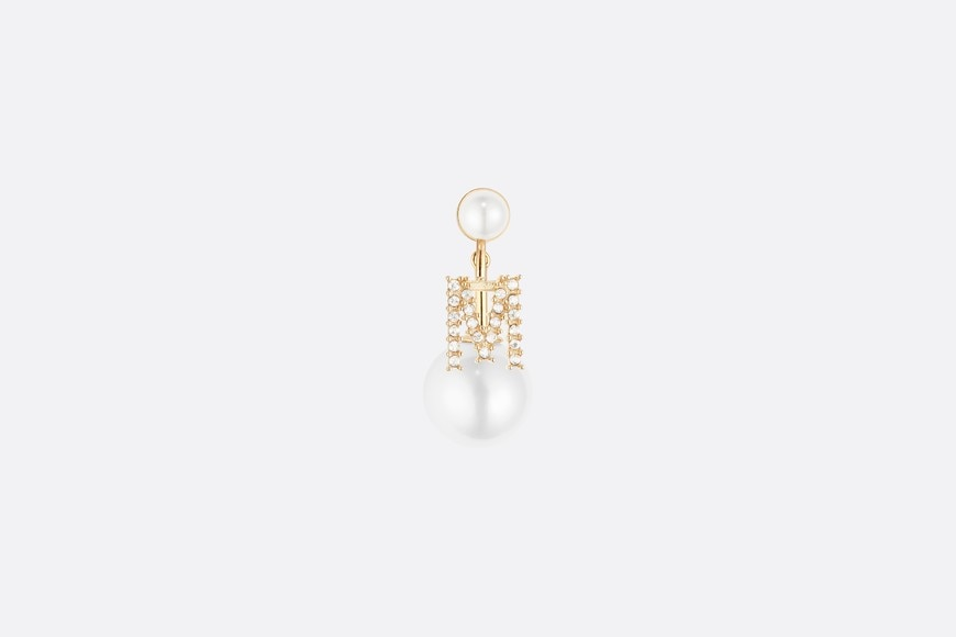 White Crystal Letter 'M' My ABCDior Tribales Gold Finish Earring aria_frontView