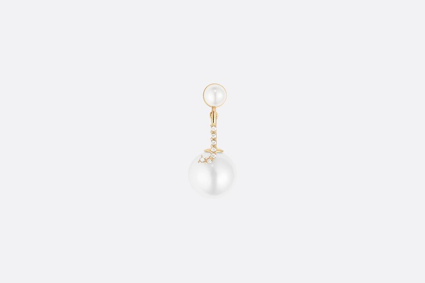 White Crystal Letter 'J' My ABCDior Tribales Gold Finish Earring aria_frontView