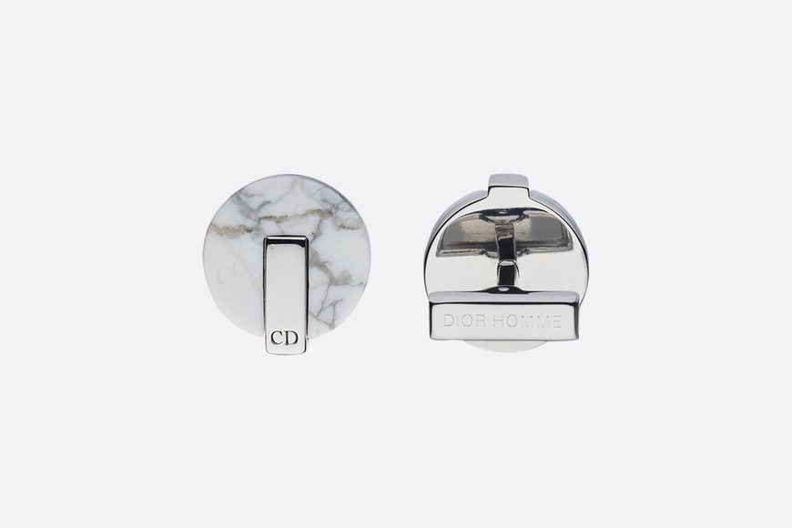 Howlite and silver cufflinks aria_frontView