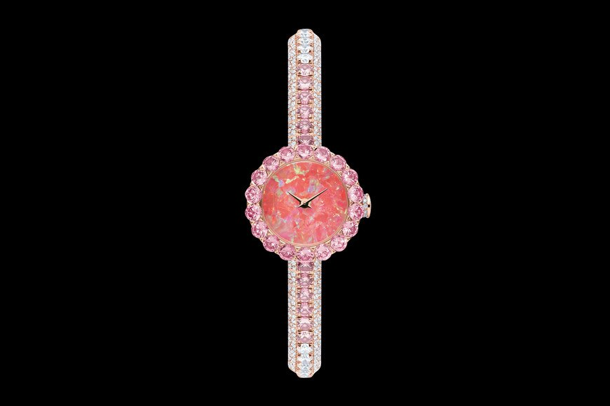 La D de Dior précieuse opal and pink sapphires ø 21 mm, quartz movement front view