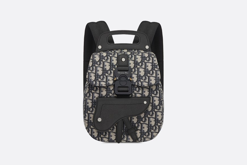 Navy Blue Dior Oblique Jacquard Mini Saddle Backpack aria_frontView