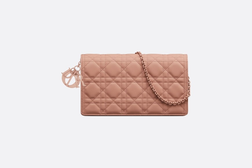 Blush Lady Dior Calfskin Chain Pouch front view