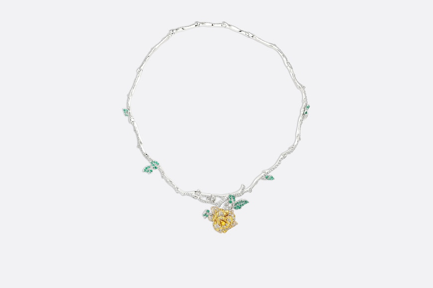 Rose Dior Bagatelle necklace in 18k white gold and yellow diamonds aria_frontView