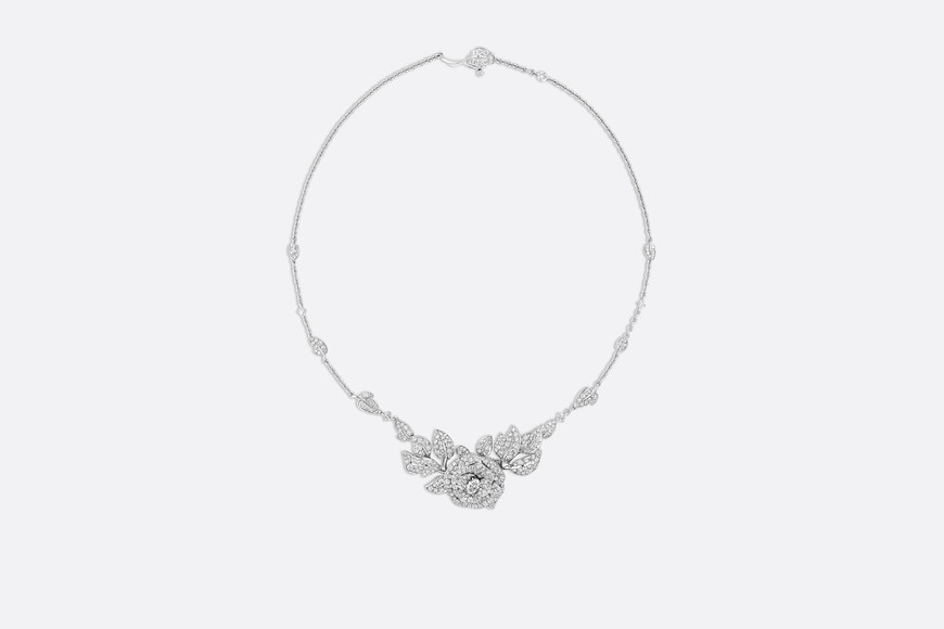 Rose Dior Bagatelle necklace, large model, in 18k white gold and diamonds aria_frontView