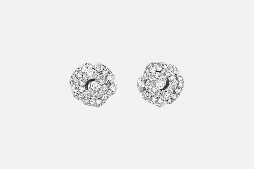 Rose Dior Bagatelle earrings, small model, in 18k white gold and diamonds front view