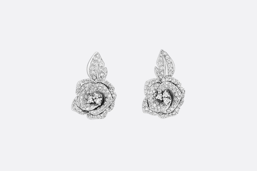 Medium Rose Dior Bagatelle Earrings front view Open gallery