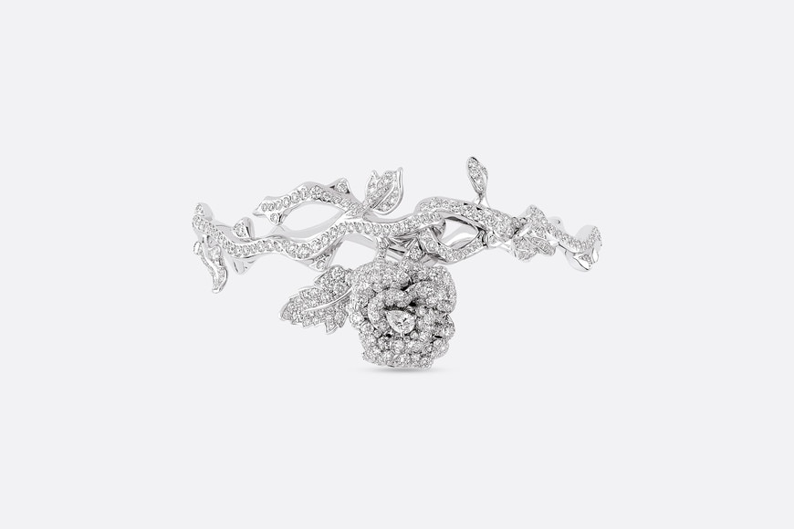 Rose Dior Bagatelle bracelet in 18k white gold and diamonds aria_frontView