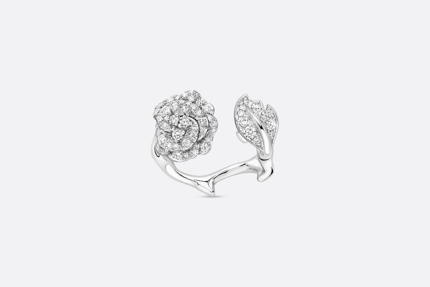 Rose Dior Bagatelle ring in 18k white gold and diamonds aria_frontView