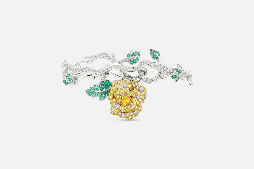 Rose Dior Bagatelle bracelet in 18k white gold and yellow diamonds aria_frontView