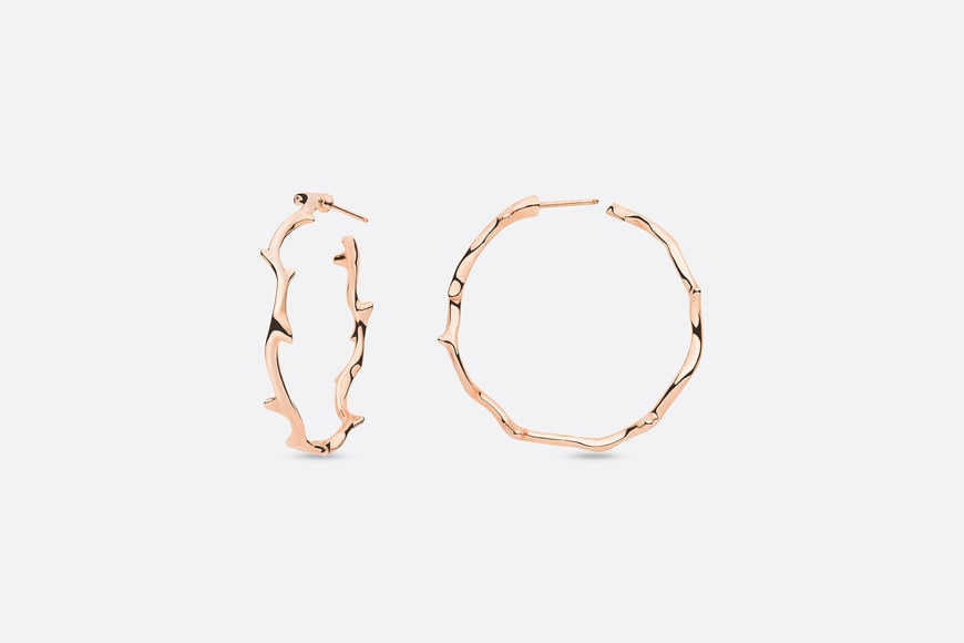 Bois de Rose earrings, large model, in 18k pink gold front view