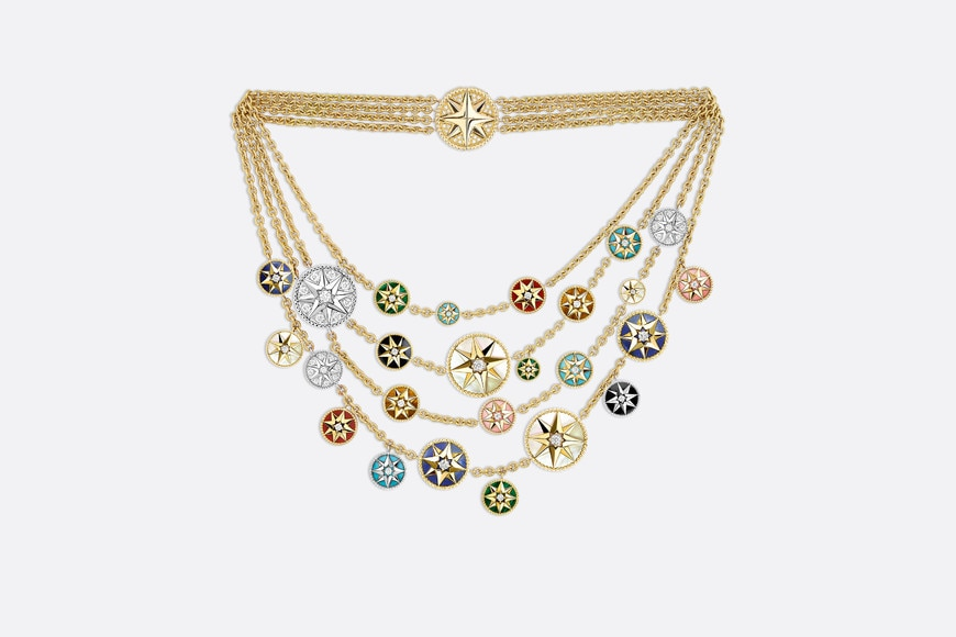 Rose des Vents necklace, 18k yellow and white gold, diamonds and hard stones aria_frontView