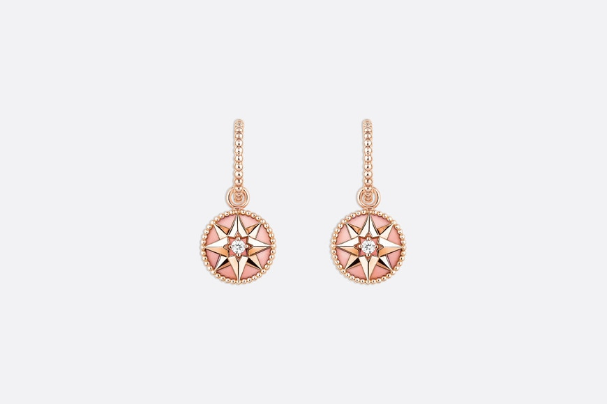 Rose des vents earrings, 18k pink gold, diamonds and pink opal front view