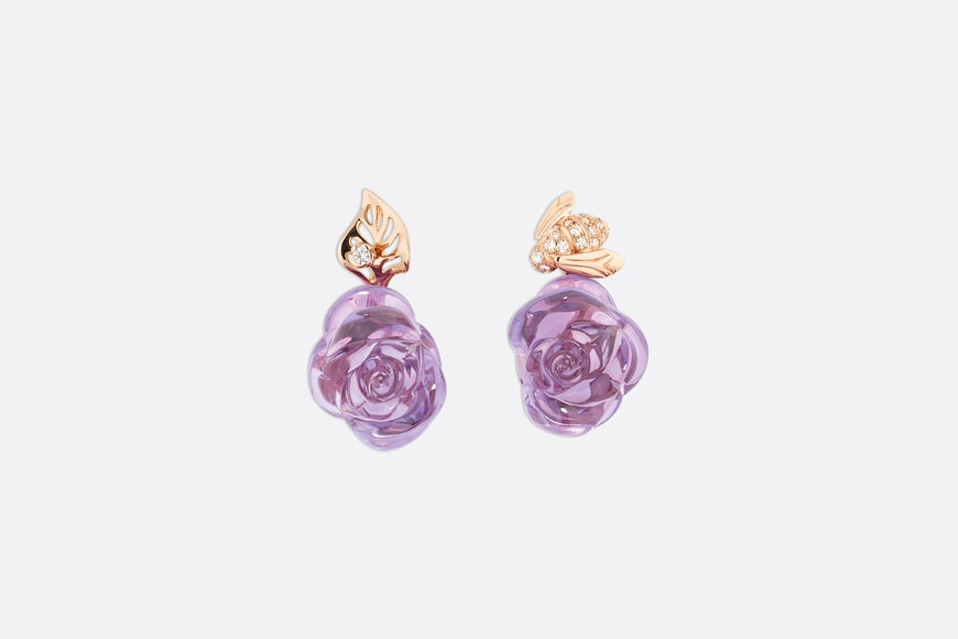 Rose Dior Pré Catelan earrings in 18k pink gold and amethysts front view