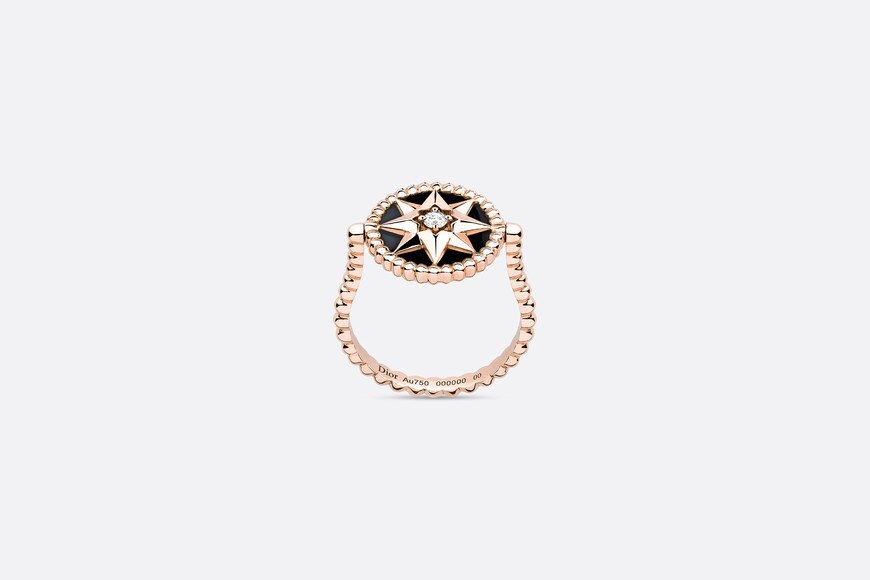 Rose des vents ring, 18k pink gold, diamond and onyx aria_frontView