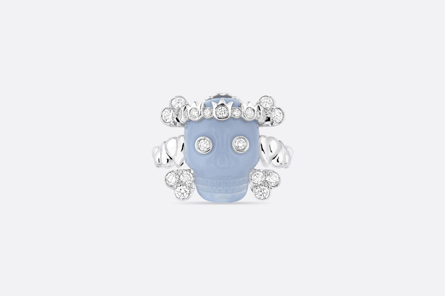 Tete de Mort Skull ring in 18K white gold, diamonds and blue chalcedony aria_frontView