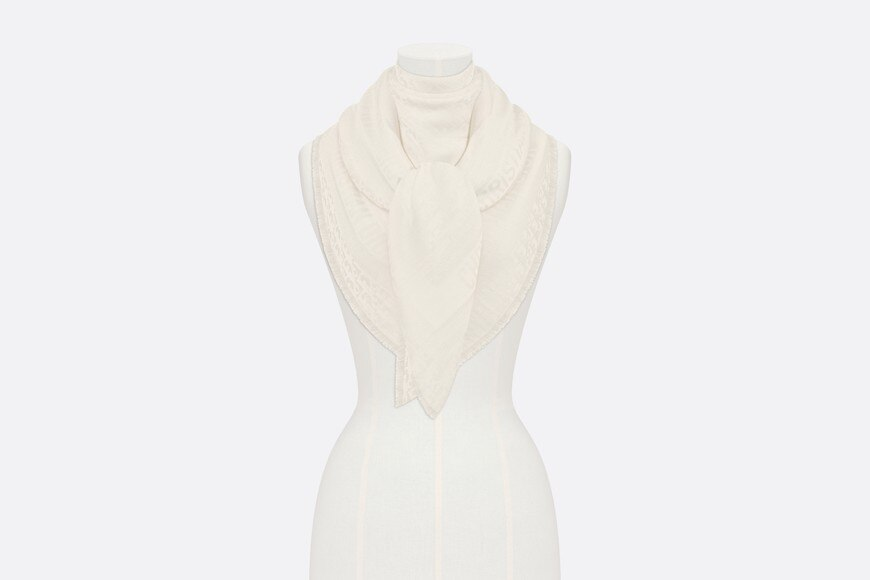 White New Dior Oblique Wool-Blend Jacquard Shawl front view