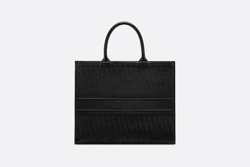 Black Dior Oblique Book Tote Bag aria_frontView