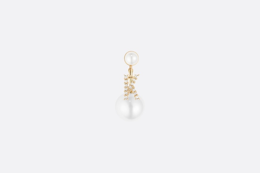 White Crystal Letter 'K' My ABCDior Tribales Gold Finish Earring front view