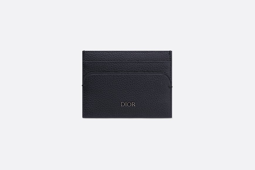 Navy Blue Calfskin Card Holder aria_frontView