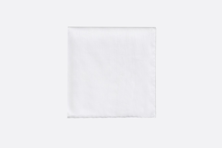 White cotton pocket square front view