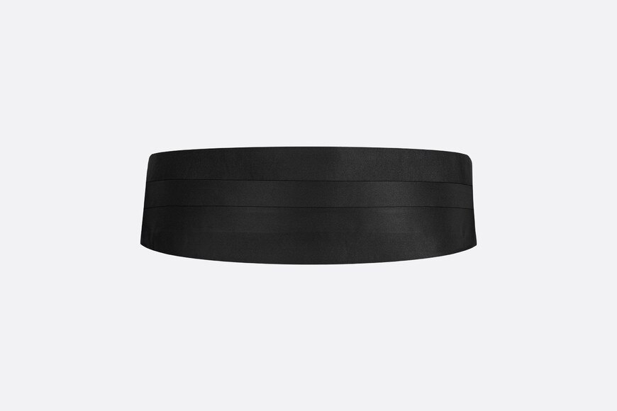 Black Silk Satin Tuxedo Belt aria_frontView