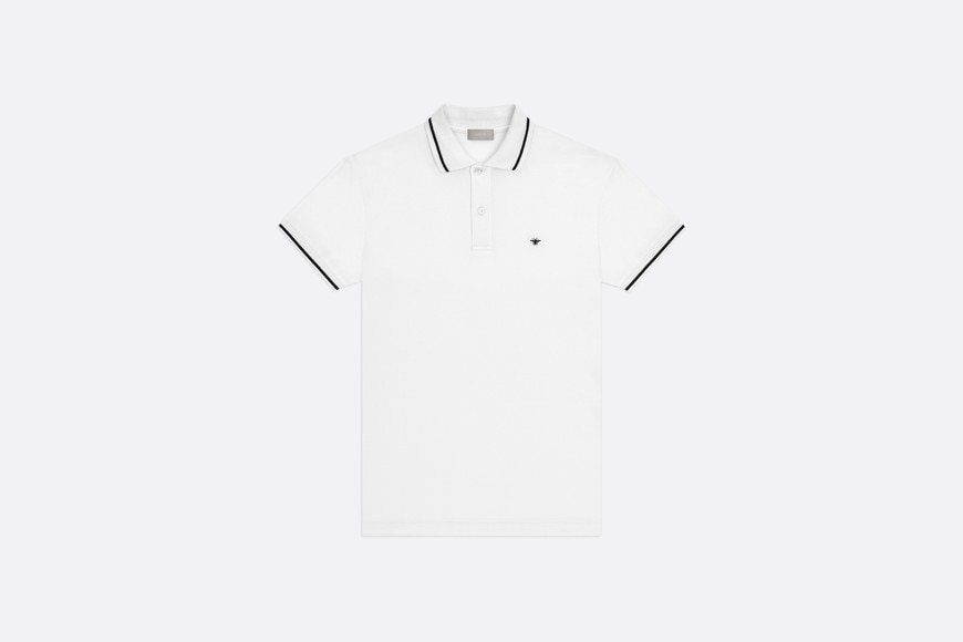White Cotton Piqué Polo Shirt with Bee Emblem front view