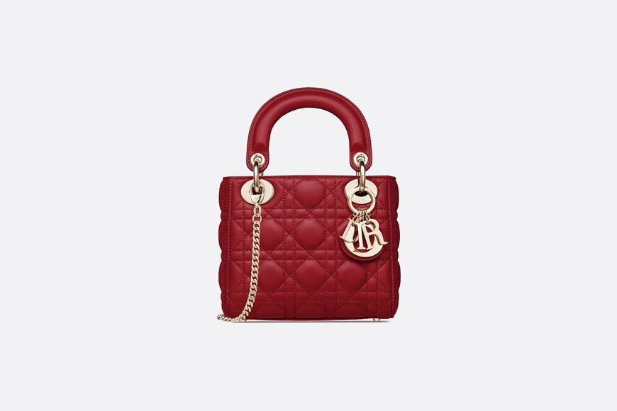 Cherry Red Lady Dior Mini Lambskin Chain Bag aria_frontView