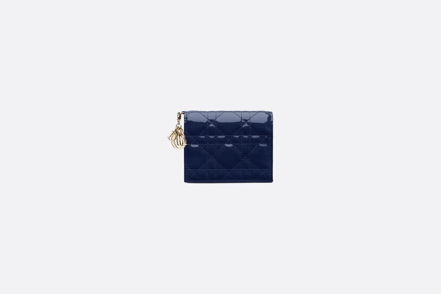 Lady Dior wallet in blue calfskin aria_frontView
