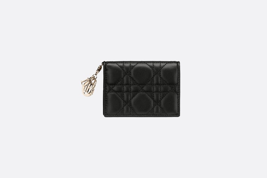 Lady Dior lambskin card holder front view