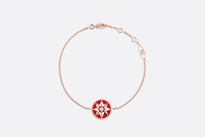 Rose des vents bracelet, 18k pink gold, diamond and red lacquered ceramic aria_frontView