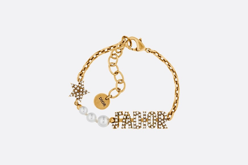 White Resin Bead and Crystal 'J'Adior' Antique Gold Finish Bracelet aria_frontView