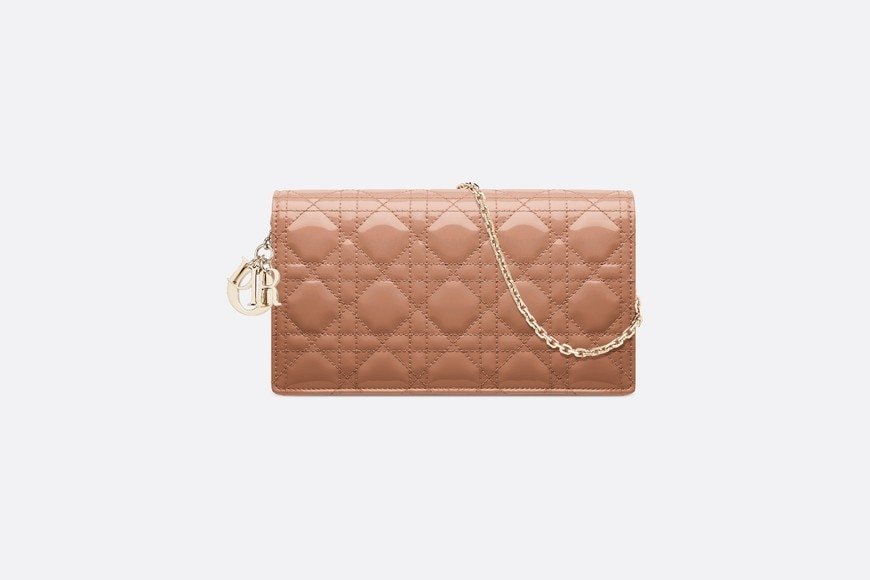 Rose Des Vents Lady Dior Calfskin Chain Pouch aria_frontView