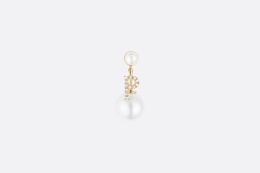 White Crystal Letter 'P' My ABCDior Tribales Gold Finish Earring aria_frontView