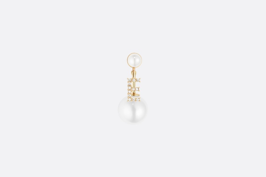 White Crystal Letter 'E' My ABCDior Tribales Gold Finish Earring aria_frontView