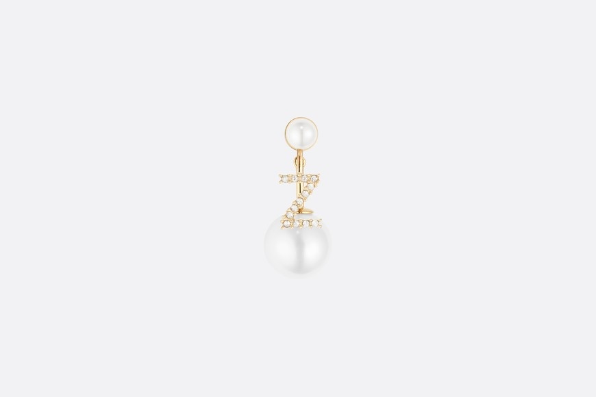 White Crystal Letter 'Z' My ABCDior Tribales Gold Finish Earring aria_frontView