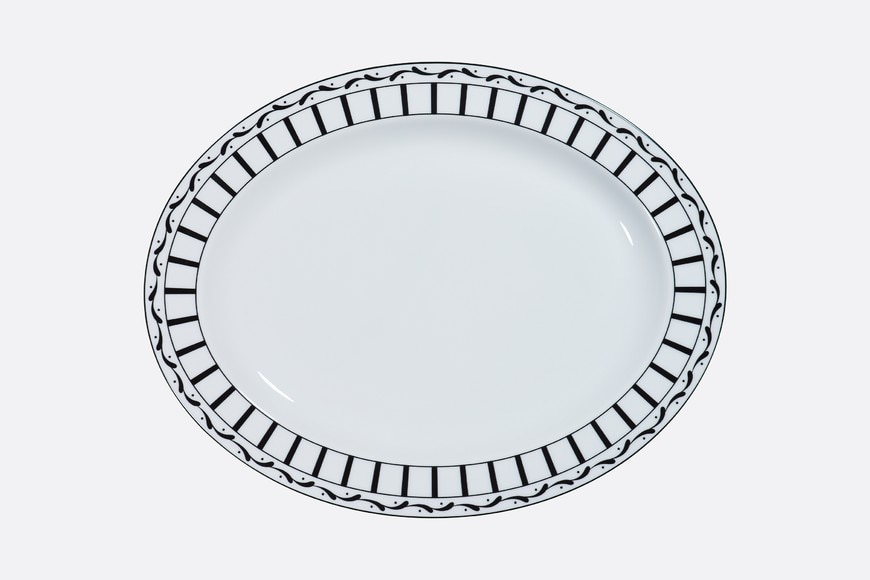 Black and white striped oval platter aria_frontView