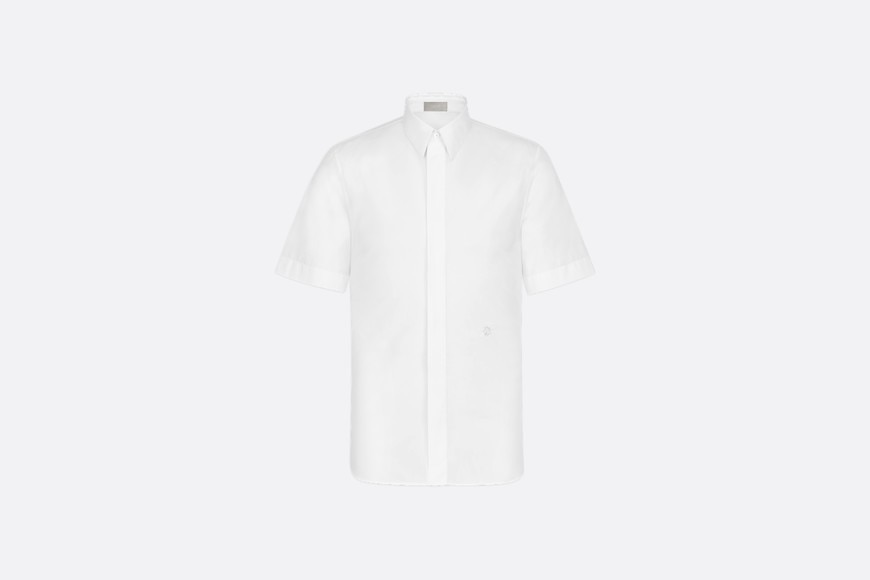 White Cotton Poplin Short Sleeve Shirt with 'CD' Gothic Logo aria_frontView