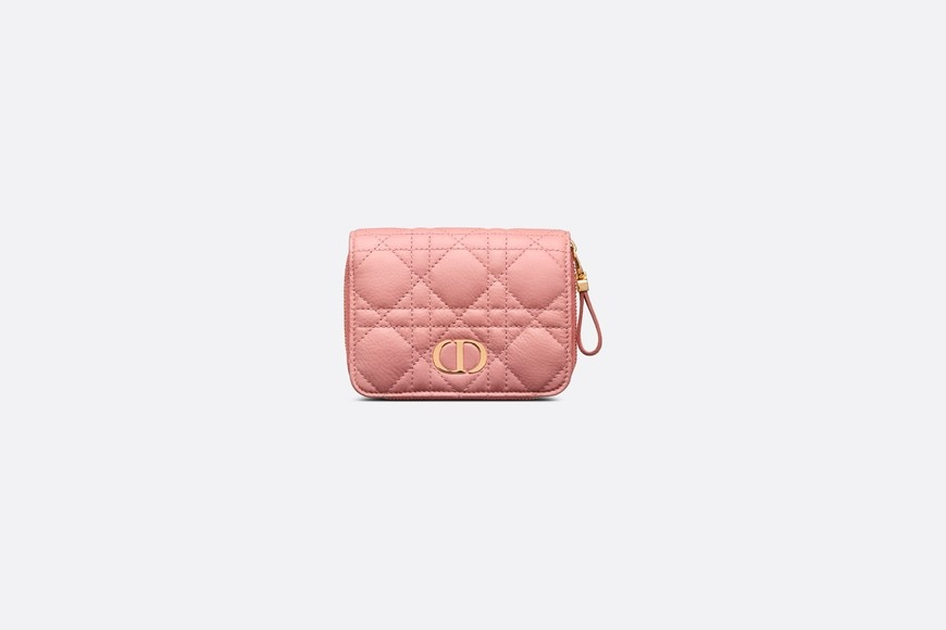 Dior Caro Compact Zipped Wallet Front view Open gallery